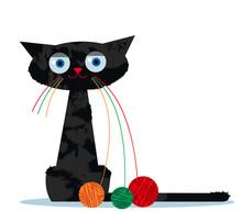 Kot kreskówki i clew przędzy