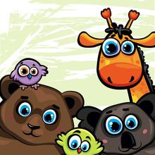 Groupe d'animaux - ours, girafe, koala et les oiseaux