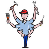 Tradesman Carpenter Mechanic Plumber Cartoon poster