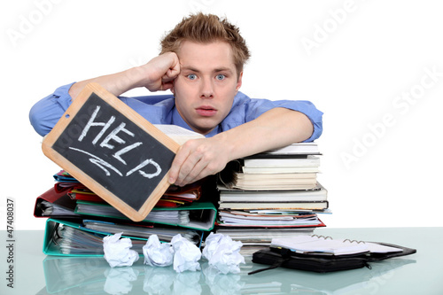An overworked office worker