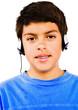 Boy Listening Music With Headphones