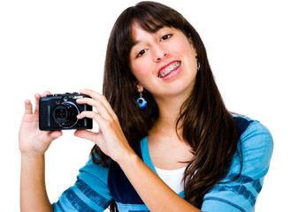 Latin American teenager photographing