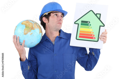 A manual worker promoting reducing carbon emissions.