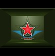 Green background with red star