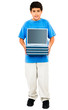 Portrait Of Boy Holding Stack Of Laptops