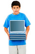 Boy Holding Stack Of Laptops