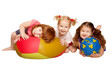 Group of kids playing with balls. Isolated on white