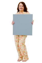 Happy woman showing placard