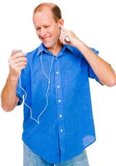 Confident man listening MP3