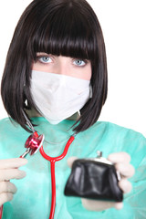 Doctor checking the health of her purse