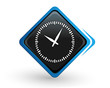 icône temps qui passe sur bouton carré bleu design