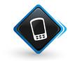 icône téléphone portable sur bouton carré bleu design