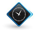 icône temps qui passe sur bouton carré bleu design poster