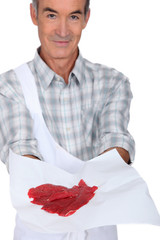 Butcher showing meat on white  background