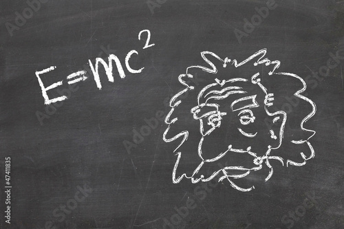 Einstein's Formula E=mc2 on a blackboard