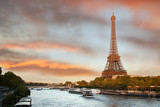 Eiffel Tower  with boats on Siene in  Paris, France - 47412202
