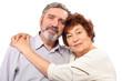 senior couple hug, isolated