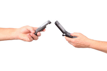 senior hands hold mobile phones, isolated, white