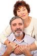 senior woman hug seat man, isolated