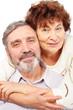 senior leaned woman hug man, couple, isolated