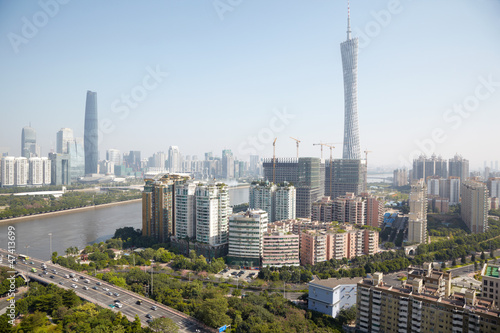 Panorama of Guangzhou with Canton Tower and Twin Tower
