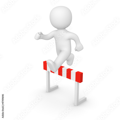 3d man jumping over hurdle