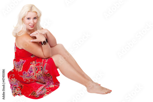 woman in coral dress