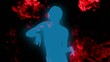 Blue dancing silhouette with red ink flowing on background.