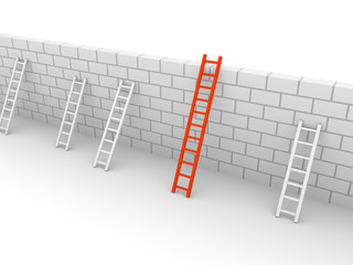 Several ladders with different length leaning the brick wall