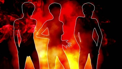3 sexy silhouette dancing with fire & smoke.