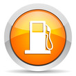 fuel orange glossy icon on white background