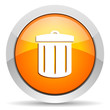 recycle orange glossy icon on white background