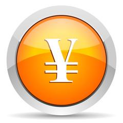 yen orange glossy icon on white background