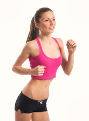 Portrait of jogging girl, on white background