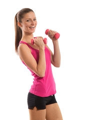 Smiling fit girl with dumbbells, white background