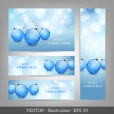 Set of Invitation for Christmas and New Year with blue balls.
