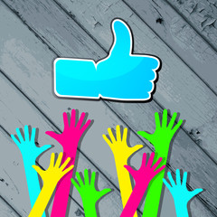 "Happy hands with ""Like"" symbol on a striped wooden background"