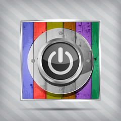 colorful power icon on the striped background