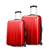 suitcases in red