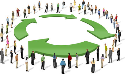business people around recycling symbol