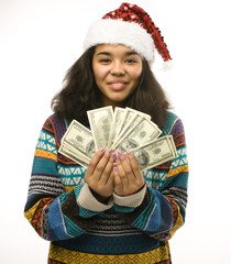 girl in red hat with money isolated