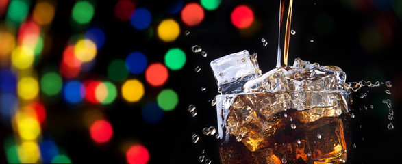 party background with splashing cola