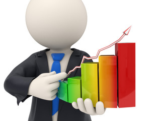 3d business man holding a financial graph