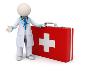 3d doctor and big red first aid case with cross