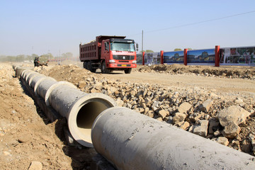 drainage pipe construction site