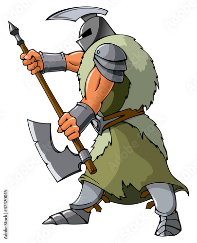 Knight attacking with an axe, vector illustration