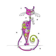Искусство кошка для вашего дизайна