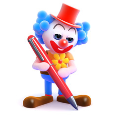 Clown writes with a big red pen