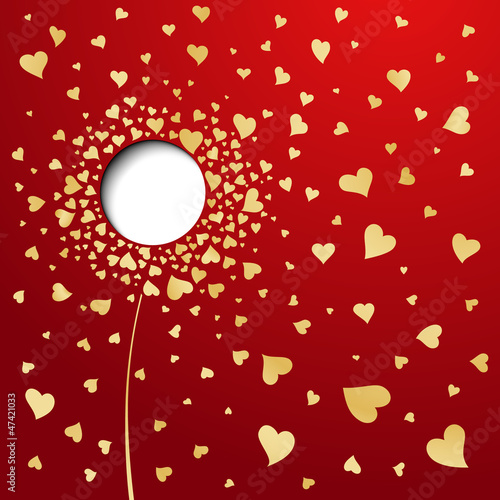Golden hearts on red background. Abstract flower