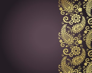 wedding template design, paisley floral pattern , India